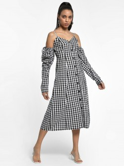 KOOVS Gingham Check Cold Shoulder Dress
