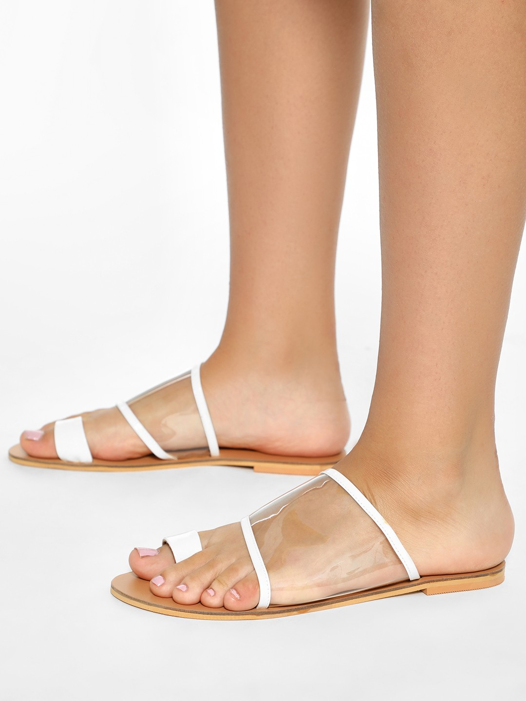 CAi White Clear Strap Flat Sandals 1