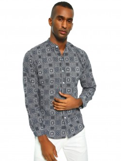 Spring Break Paisley Print Grandad Collar Shirt