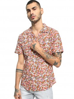 Spring Break Floral Print Cuban Collar Shirt
