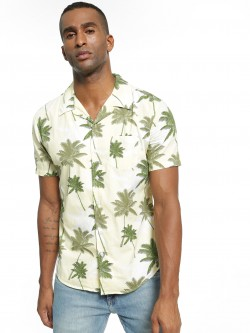 Spring Break Palm Print Cuban Collar Shirt