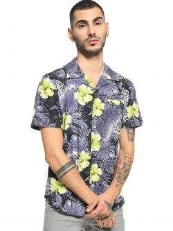 Spring Break Tropical Floral Print Cuban Collar Shirt