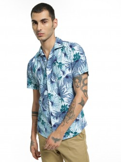 Spring Break Tropical Palm Print Cuban Shirt