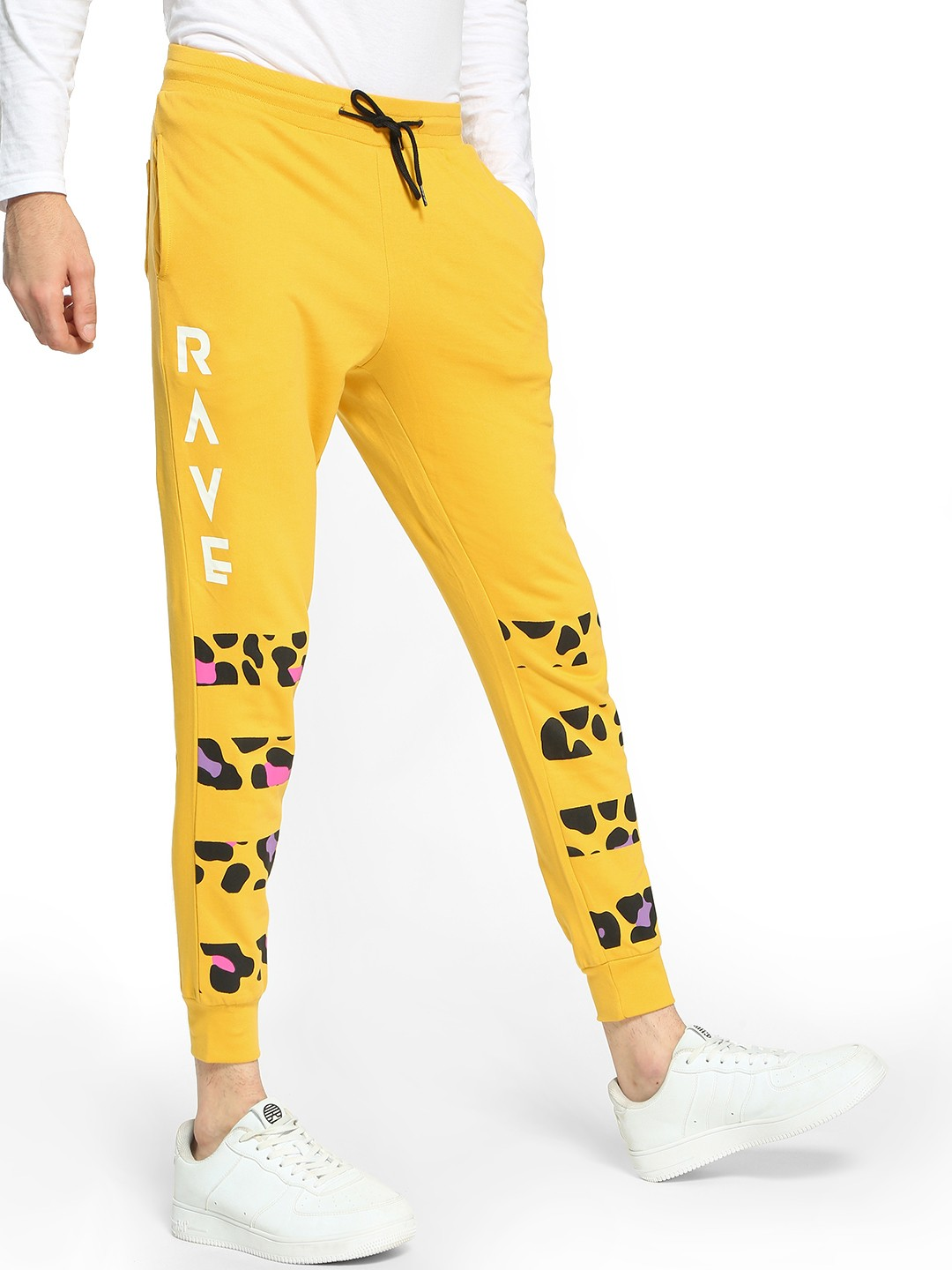 Fighting Fame Yellow Rave Leopard Stripe Print Joggers 1