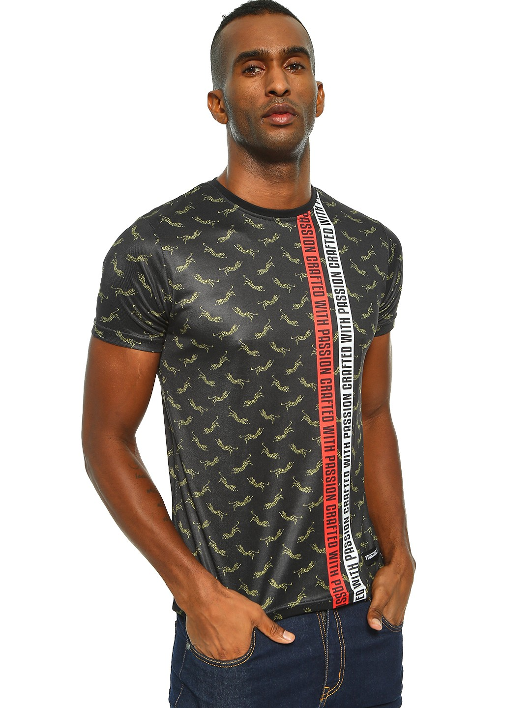 Fighting Fame Black Crafted With Passion Leopard Print T-Shirt 1