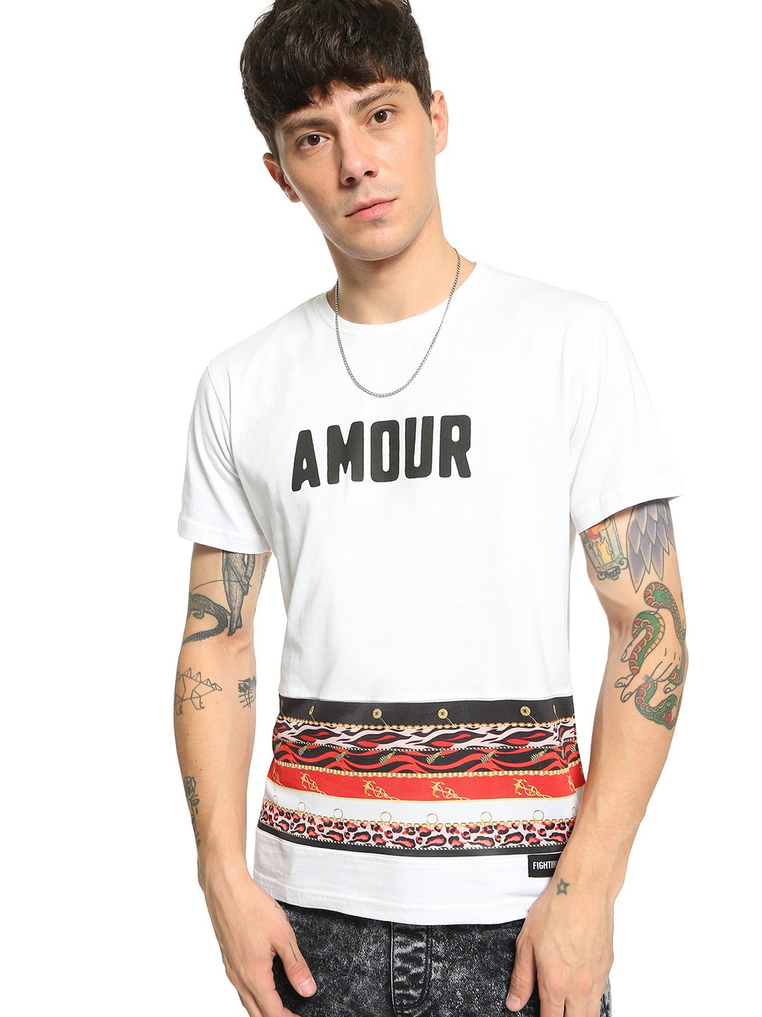 Fighting Fame White Animal Baroque Stripe Text T-Shirt 1
