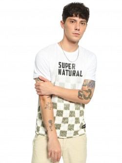 Fighting Fame Leopard Check Text Print T-Shirt