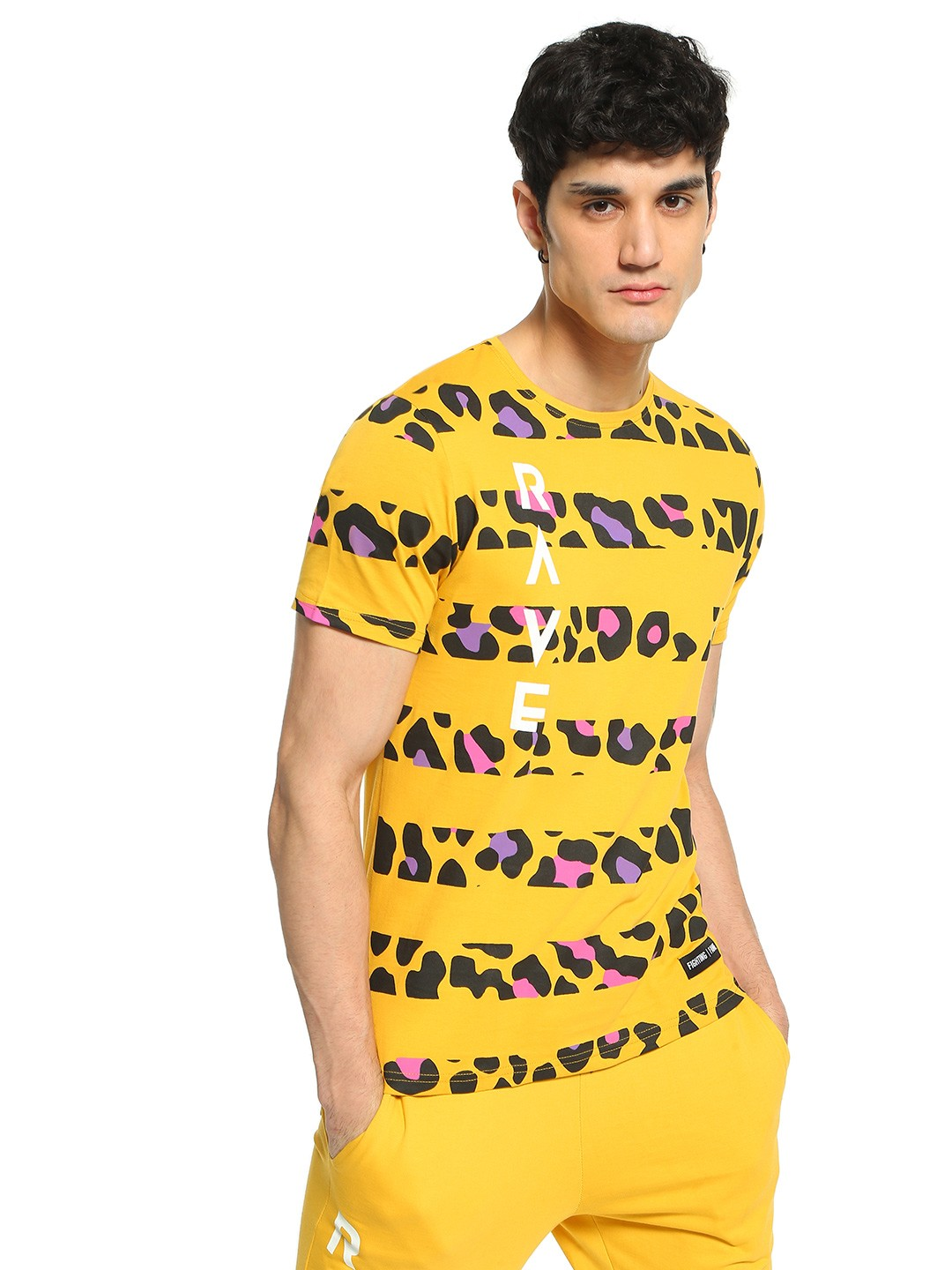 Fighting Fame Yellow Rave Leopard Print Stripe T-Shirt 1