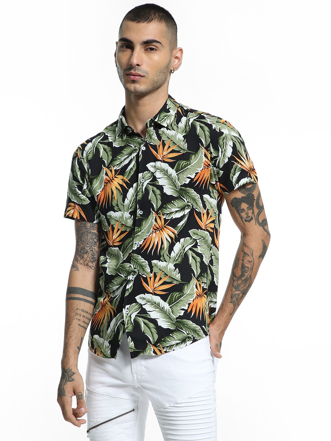 TRUE RUG Multi Tropical Print Short Sleeve Shirt 1