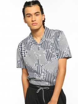 Spring Break Checkerboard Baroque Print Cuban Shirt