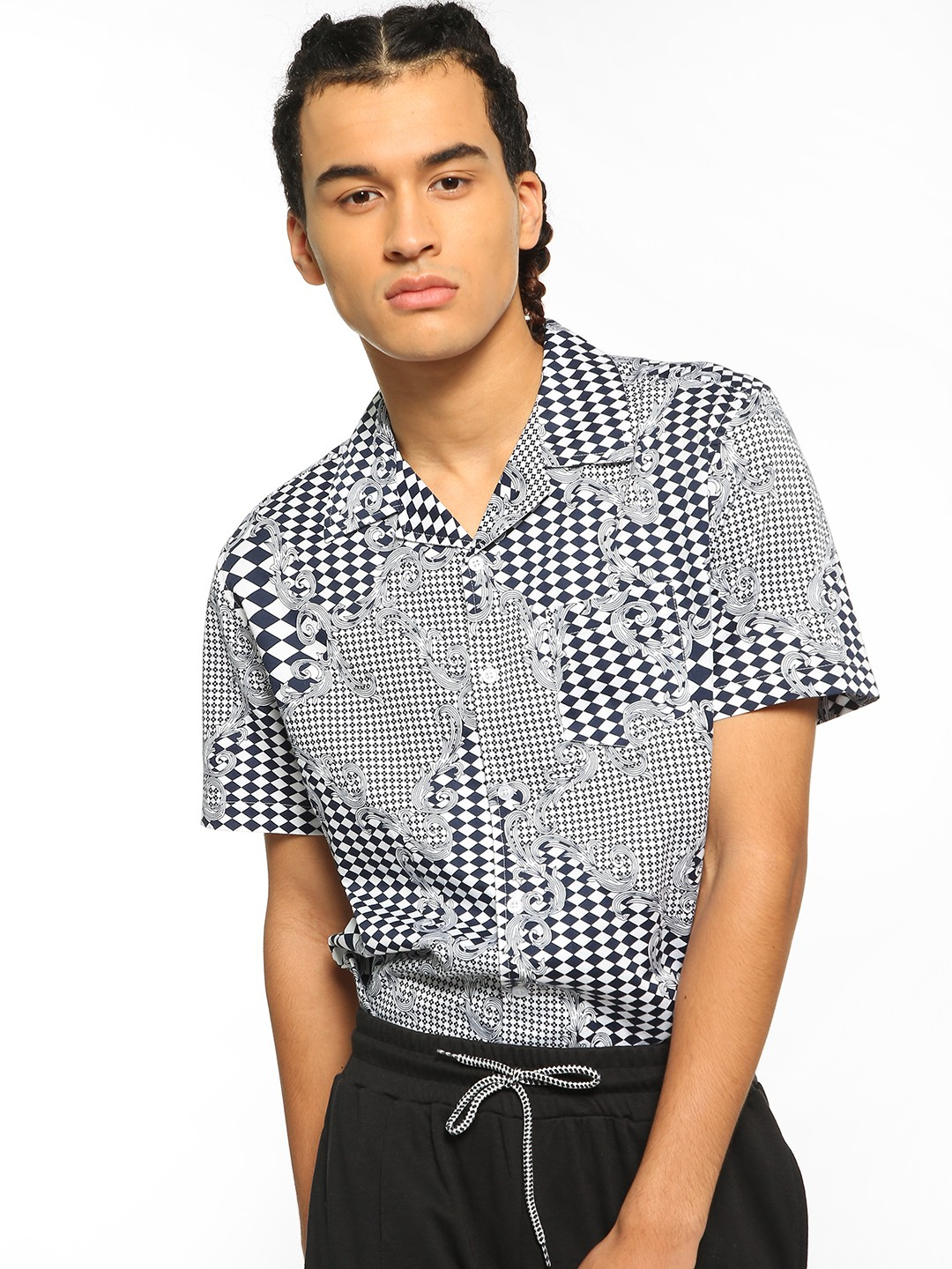 Spring Break Multi Checkerboard Baroque Print Cuban Shirt 1