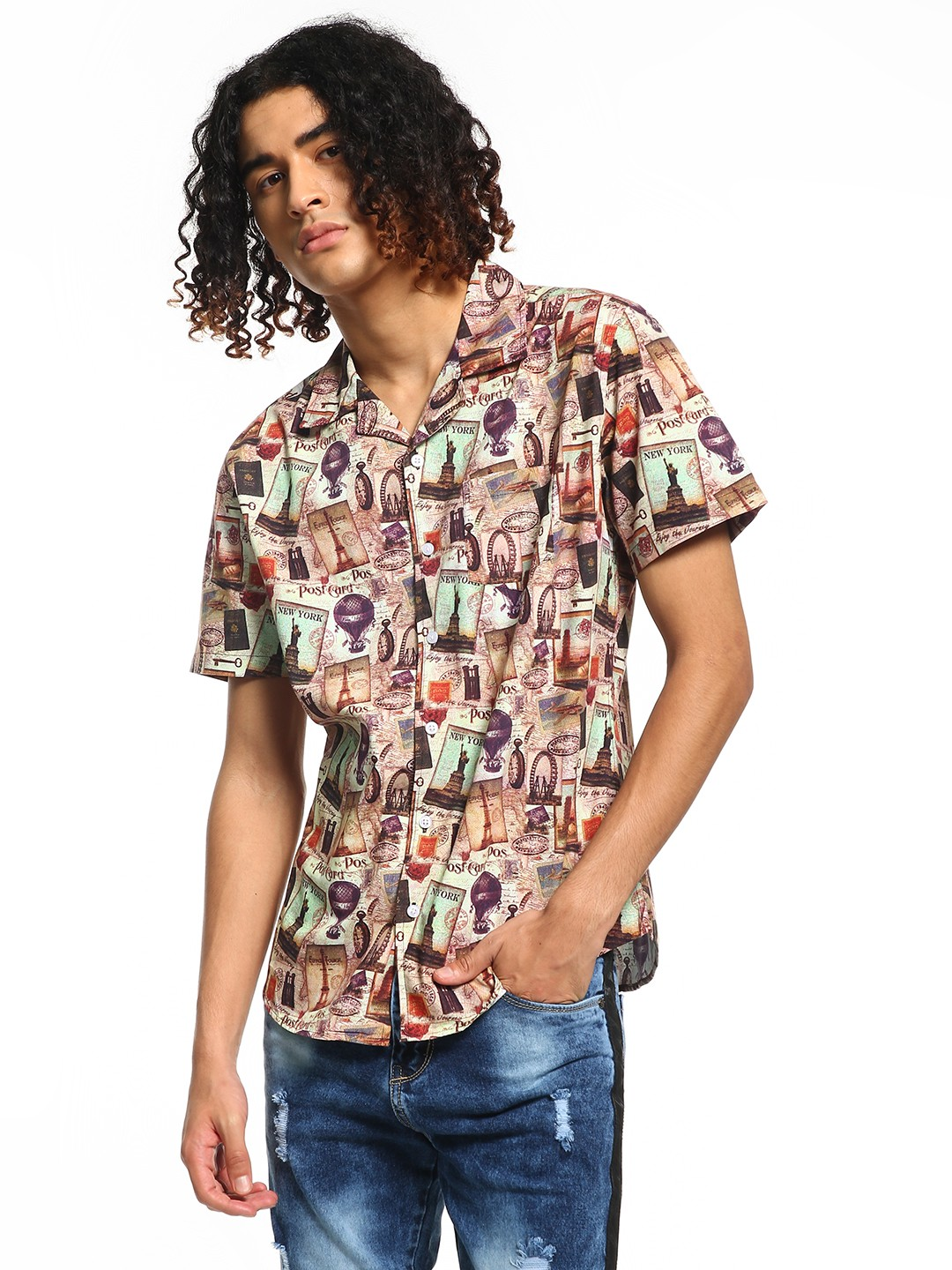 Spring Break Multi Travel Sticker Print Cuban Collar Shirt 1