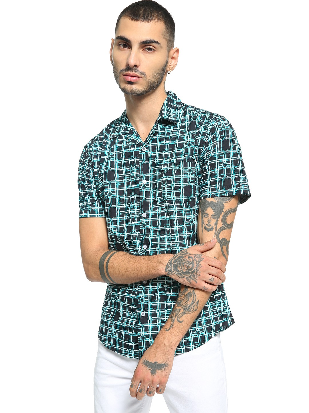 Spring Break Multi Abstract Print Cuban Collar Shirt 1