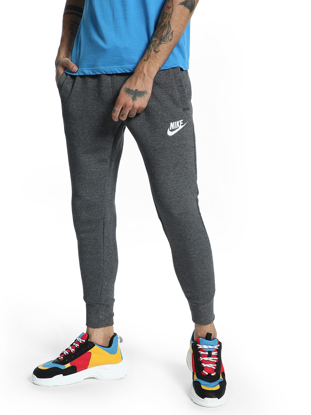 Nike Grey Heathered Drawstring Joggers 1