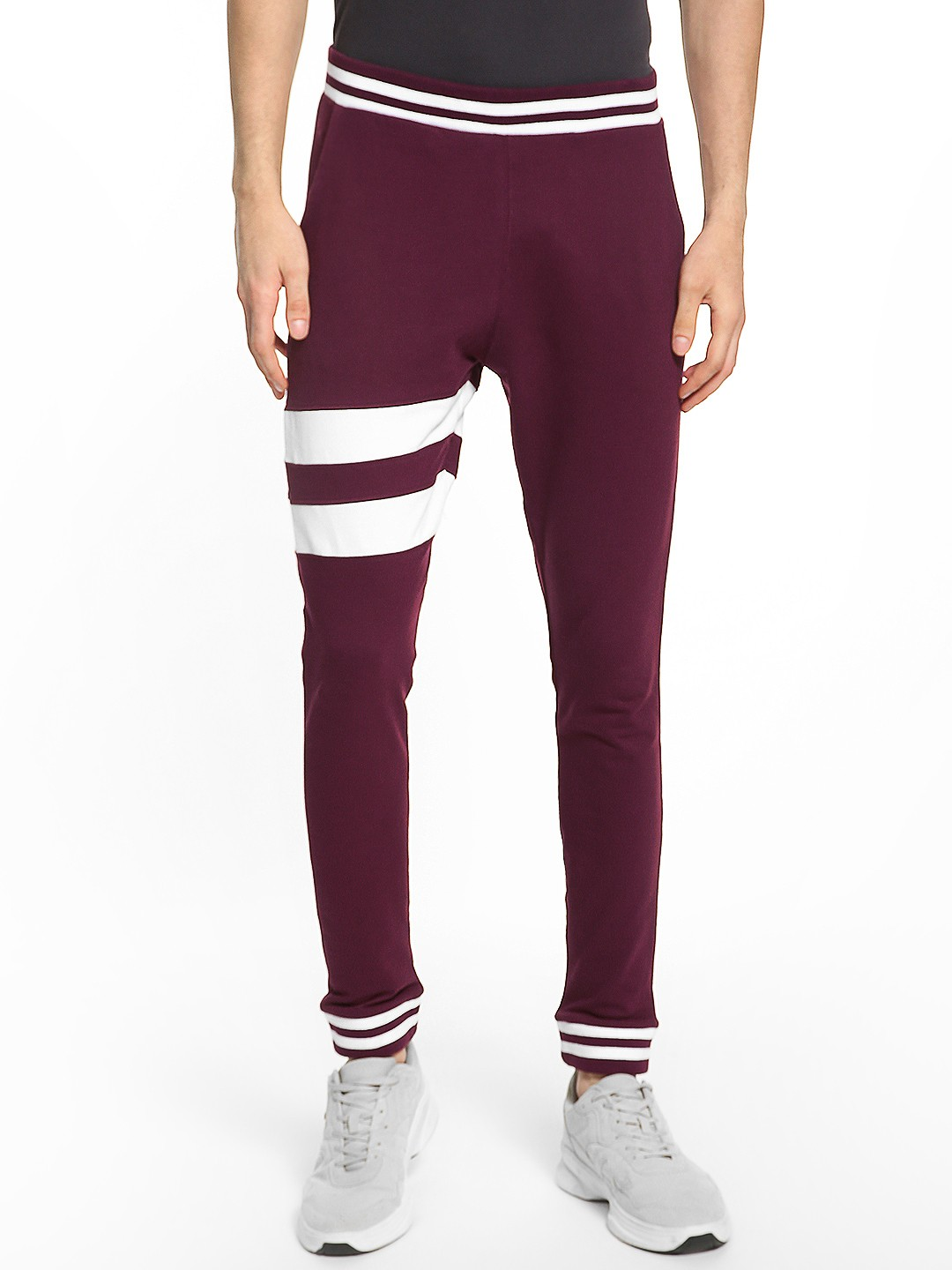 Garcon Maroon Mid-Rise Contrast Tape Print Joggers 1