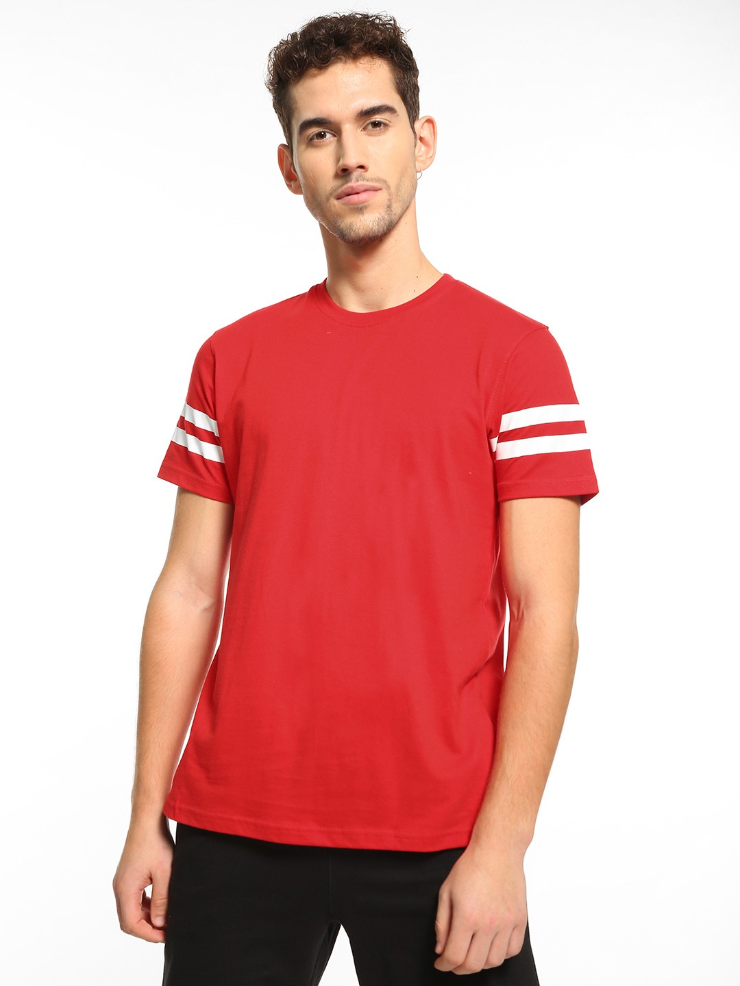 Garcon Red Contrast Stripe Print T-Shirt 1