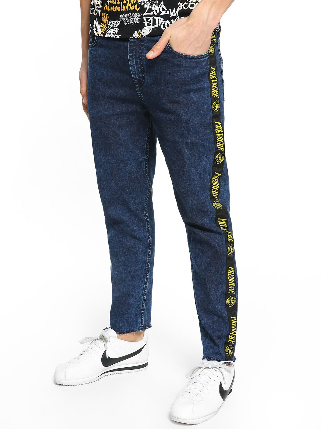 K Denim Blue KOOVS Text Side Tape Slim Jeans 1