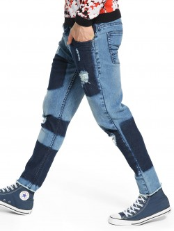 K Denim KOOVS Two Tone Patch Slim Jeans