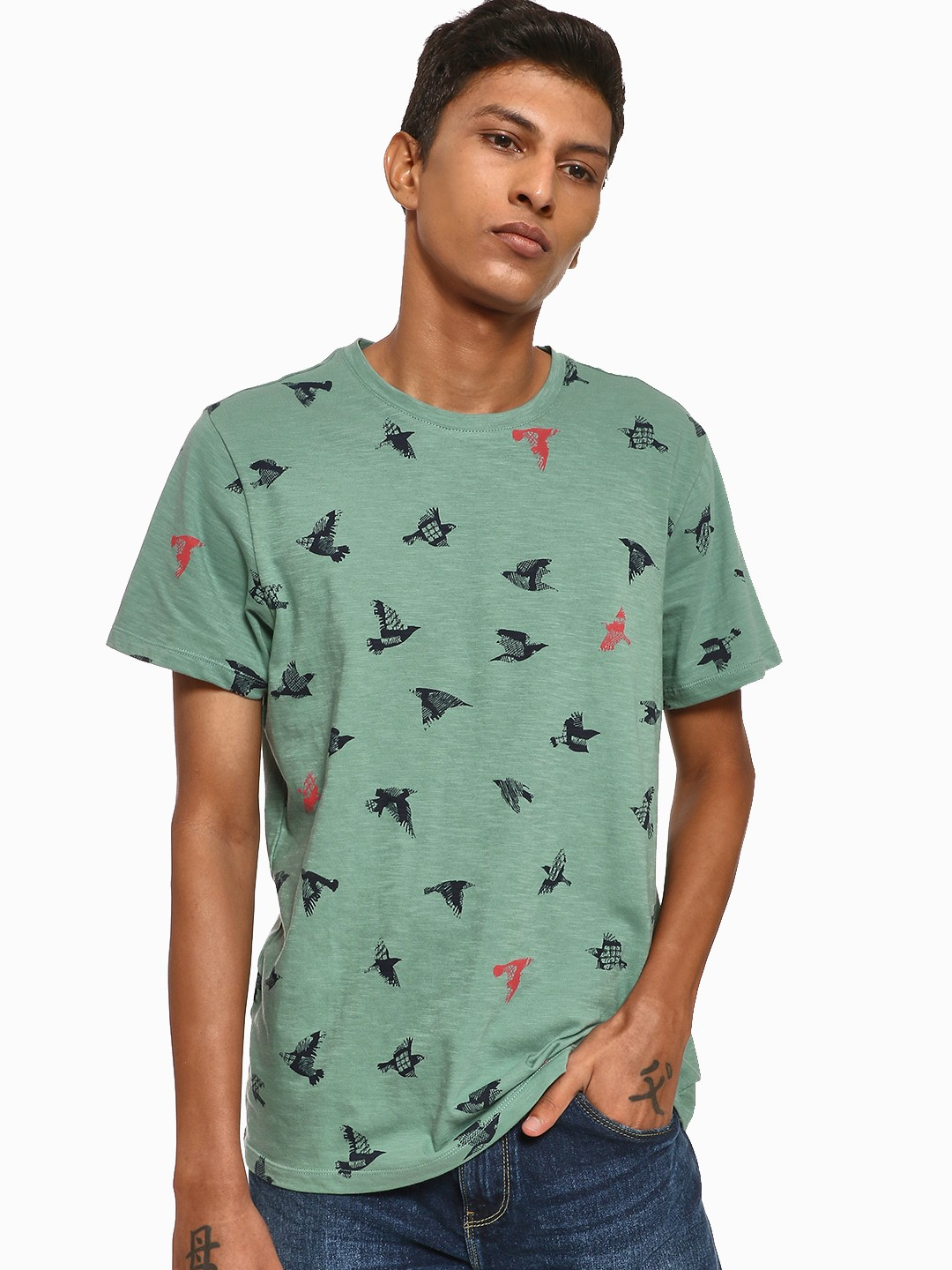 Leo Sansini Green Bird Print Crew Neck T-Shirt 1