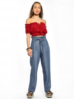 Sbuys Paperbag High-Waist Chambray Pants