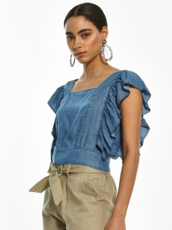 Sbuys Back Cut-Out Buttoned Crop Top