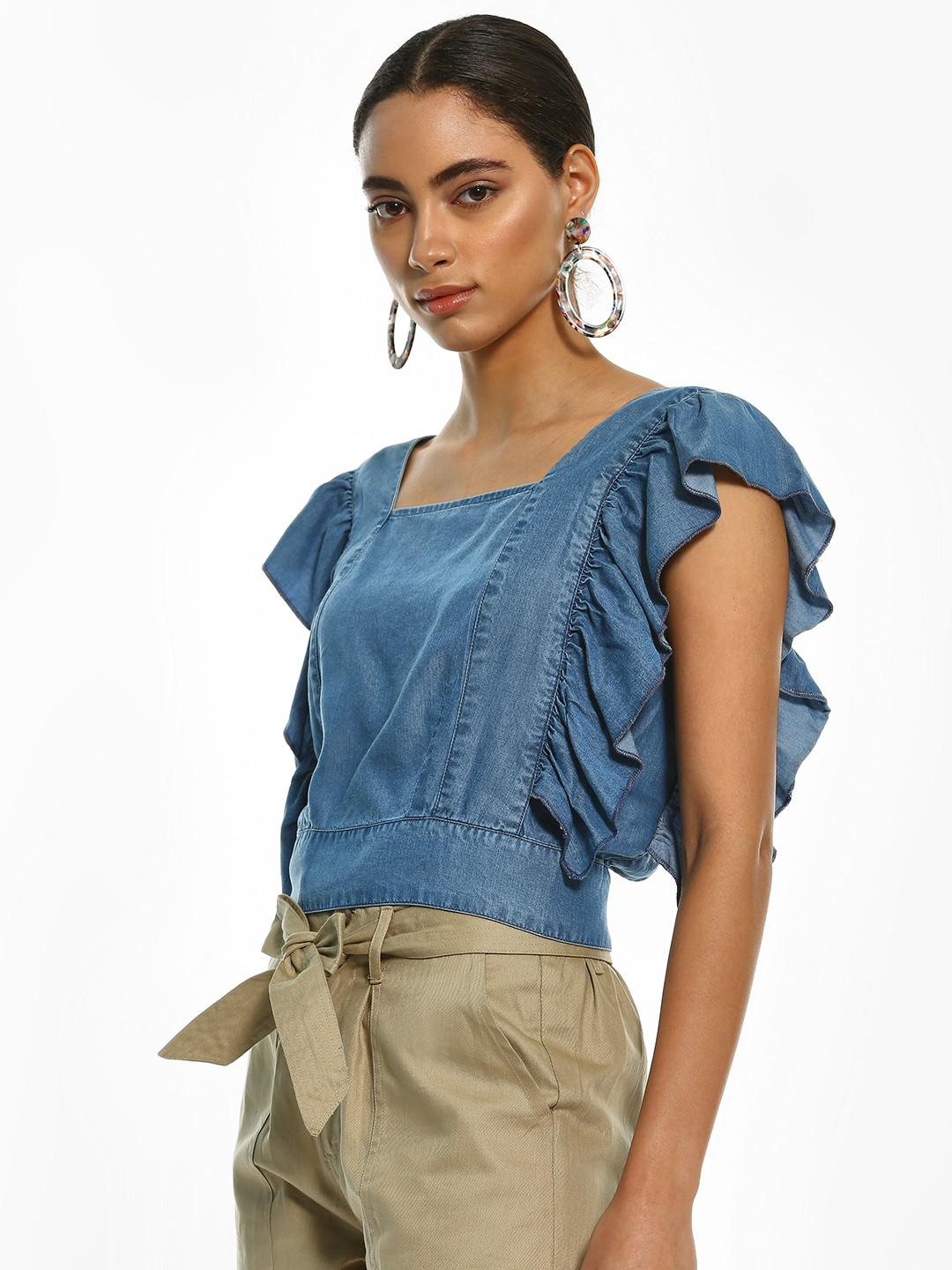 Sbuys Blue Back Cut-Out Buttoned Crop Top 1