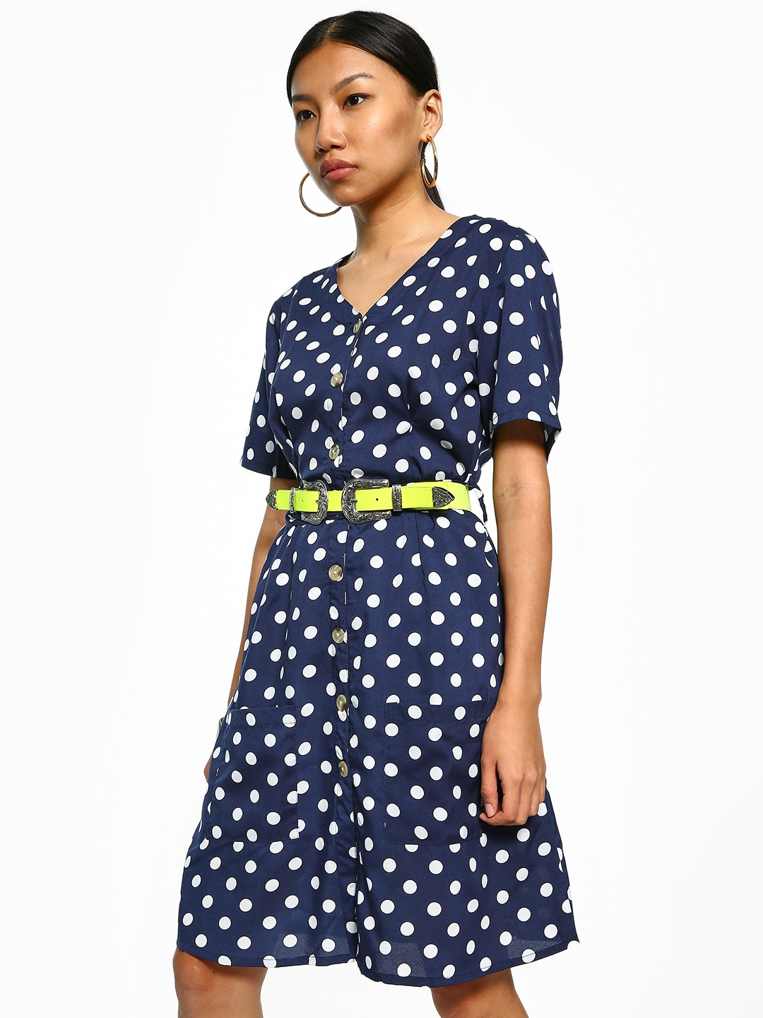 Sbuys Multi Polka Dot Tie-Waist Shift Dress 1