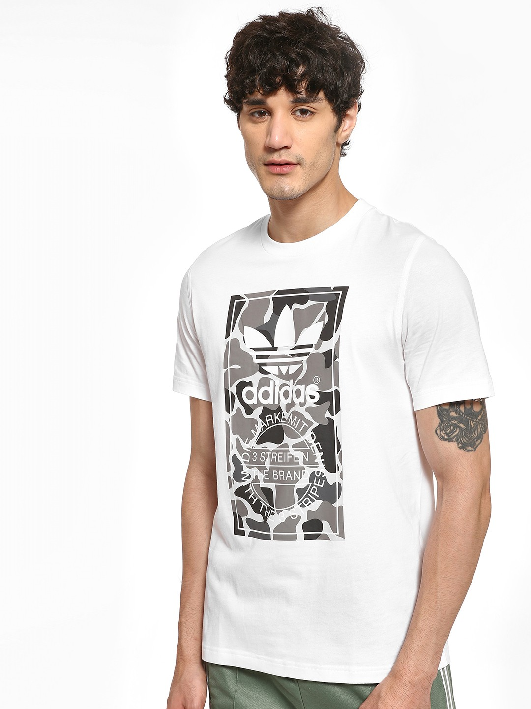 Adidas Originals White Camouflage Tongue Label T-Shirt 1