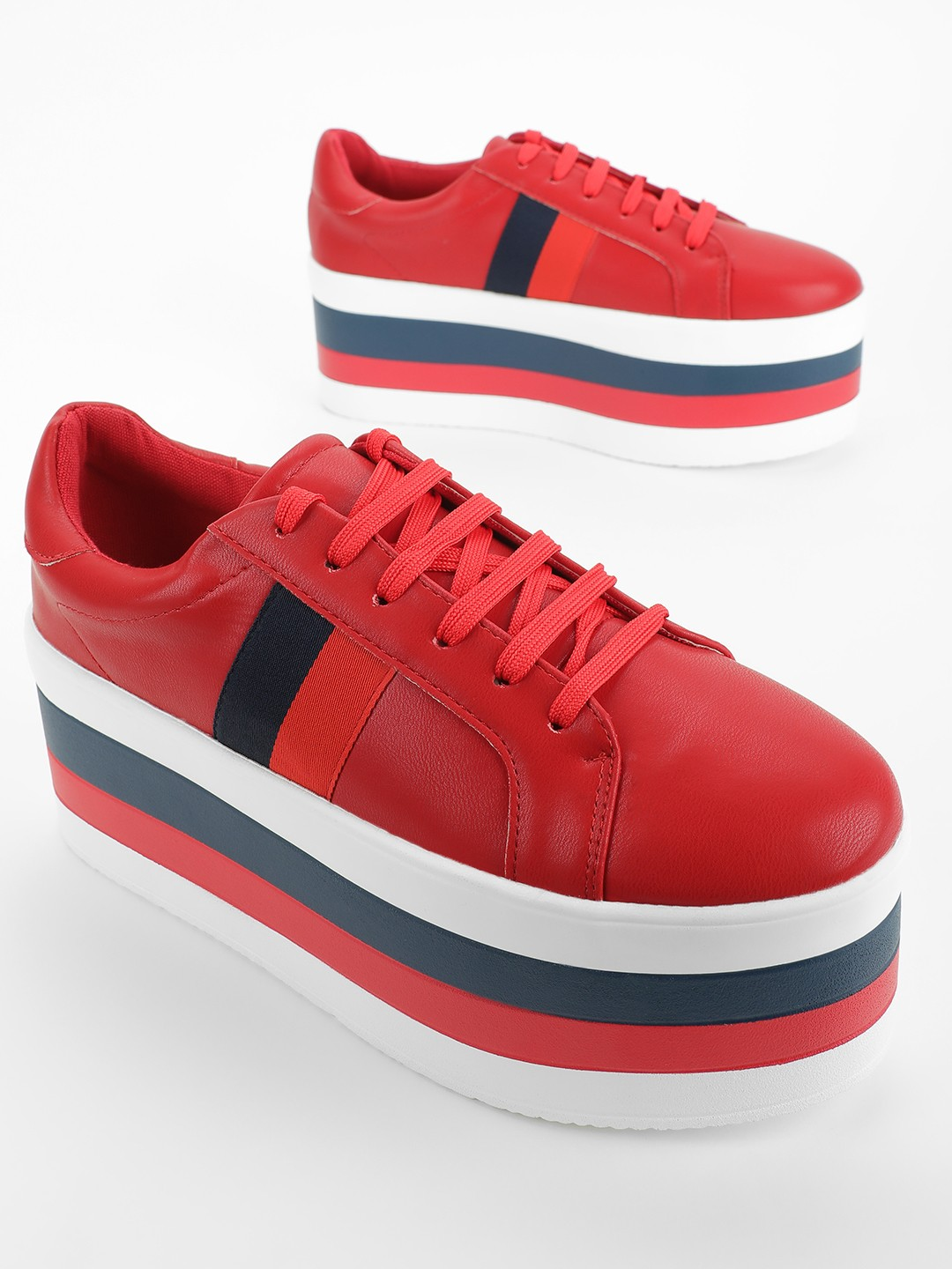 My Foot Couture Red Multi Coloured Sole Flatform Sneakers 1