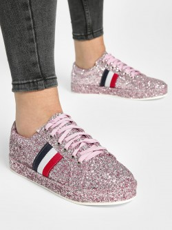 My Foot Couture Contrast Panel Glitter Sneakers