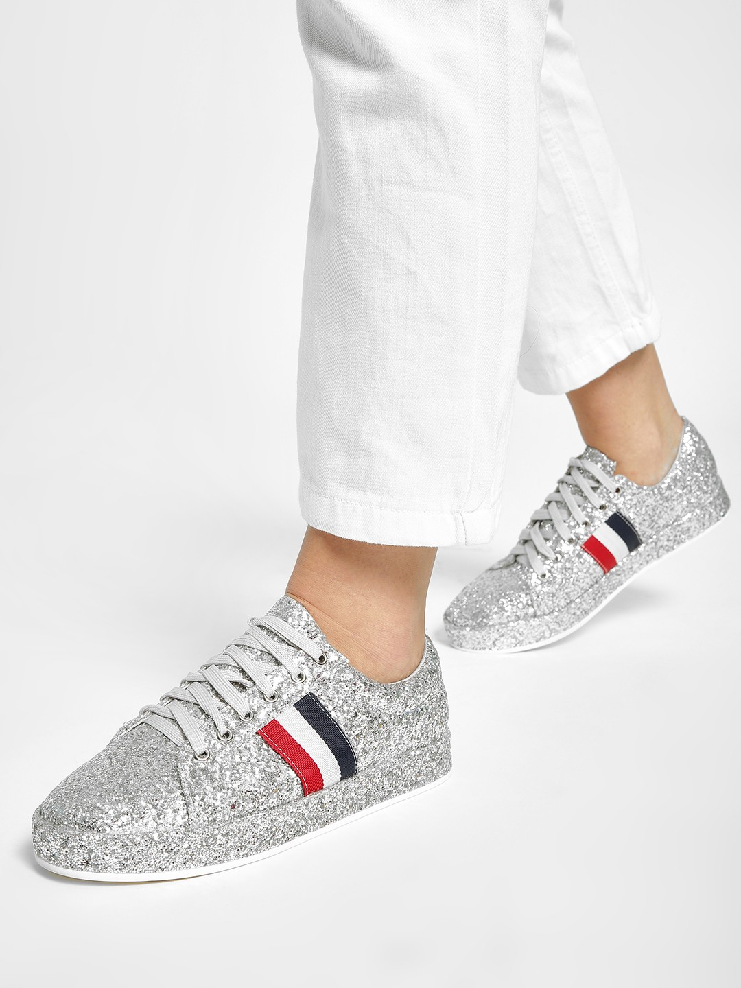 My Foot Couture Silver Contrast Panel Glitter Sneakers 1