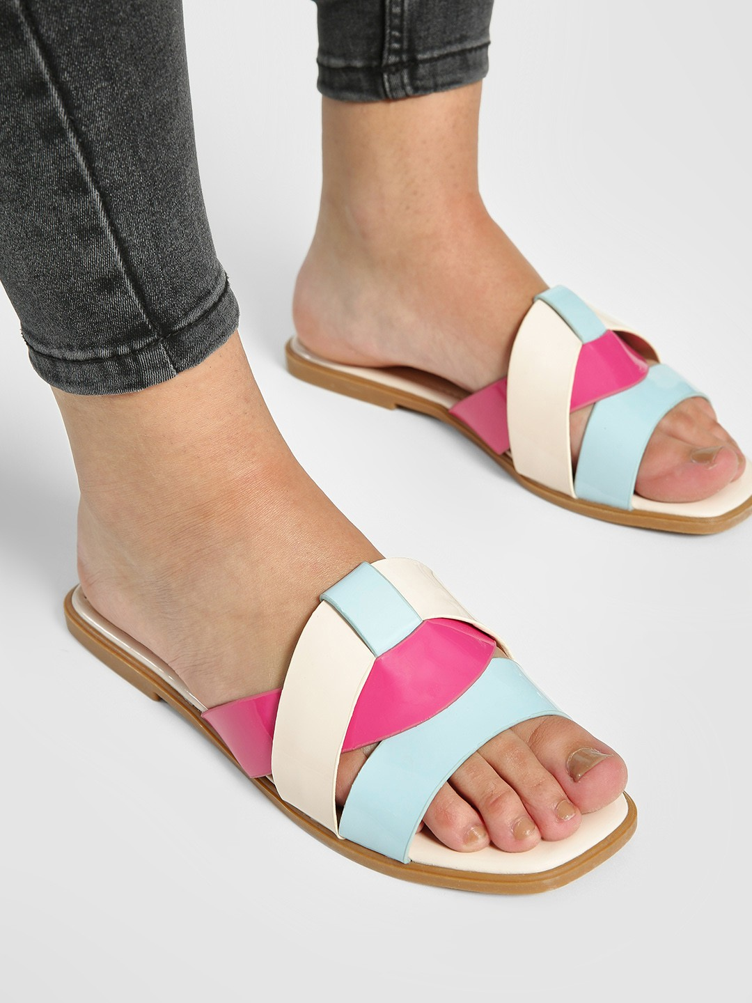 My Foot Couture Cream Patent Multi-Strap Flat Sandals 1