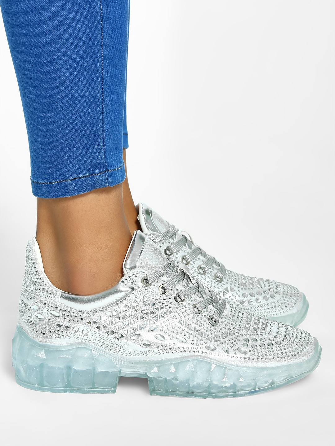 Sole Story Silver Metallic Diamante Embellished Trainers 1