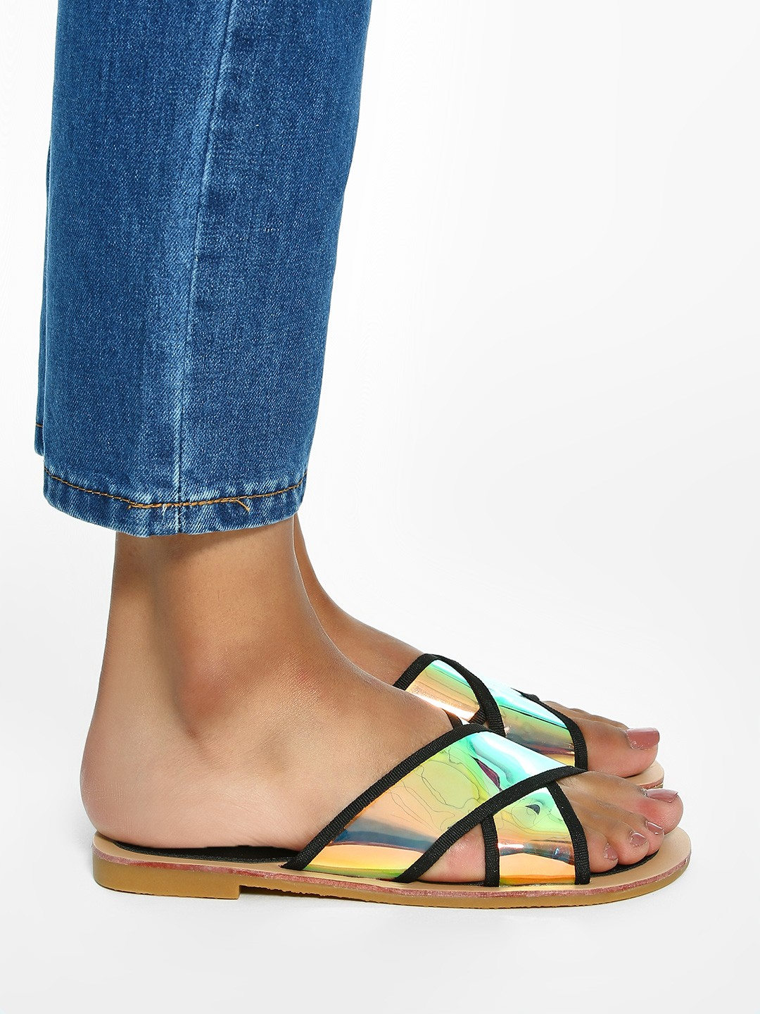 Sole Story Black Holographic Cross Strap Flat Sandals 1