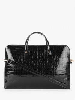Gusto Patent Crocskin Slim Laptop Bag