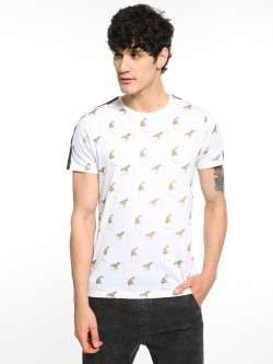 Brave Soul Monkey Print Shoulder Tape T-Shirt