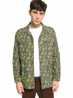 Spring Break Tropical Print Cuban Collar Shacket
