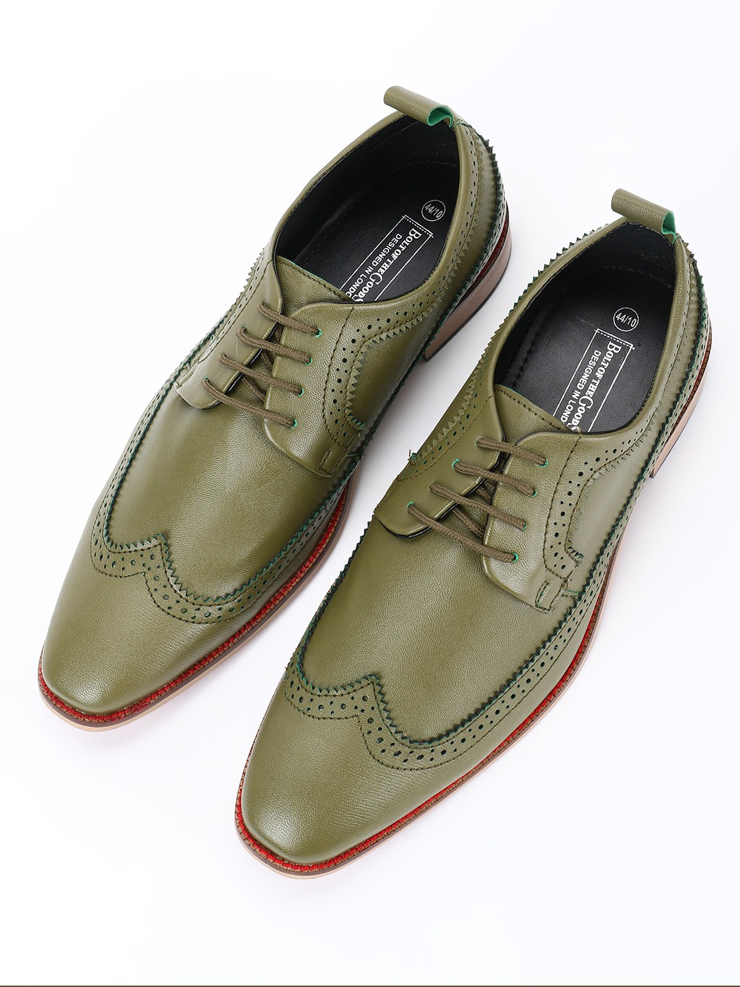 Bolt Of The Good Stuff Green Brogue Punches Derby Formal Shoes 1