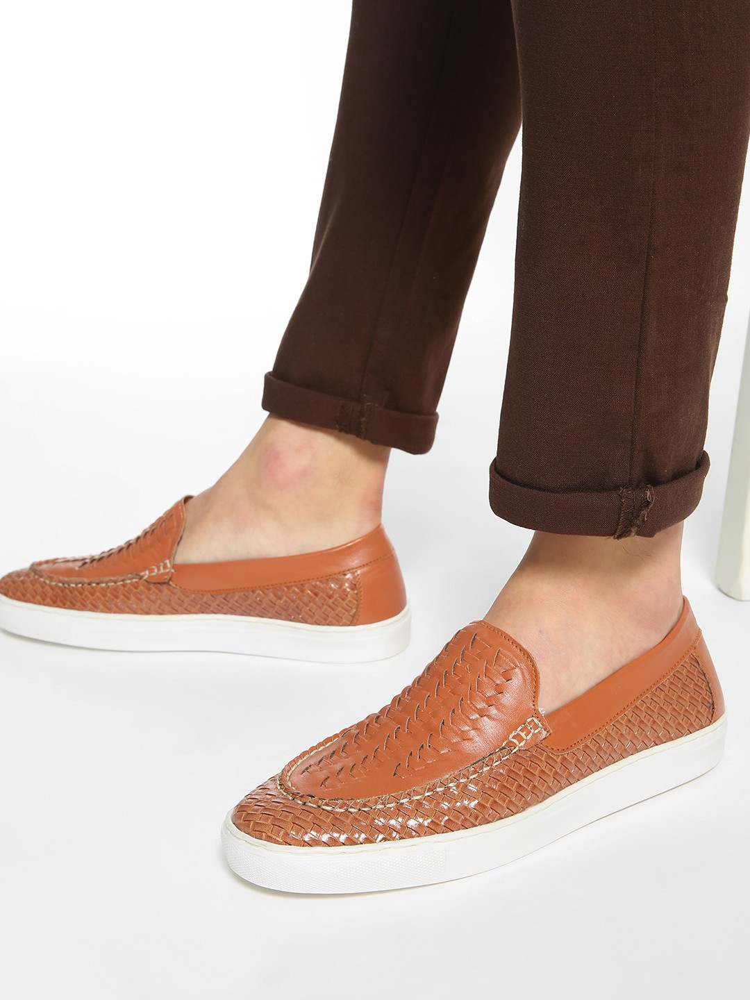 Bolt Of The Good Stuff Tan Basket Weave Contrast Sole Loafers 1