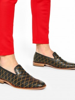 Bolt Of The Good Stuff Contrast Stitch Metallic Loafers