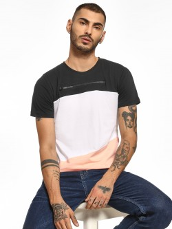 Kultprit Colour Block Front Zipper T-Shirt