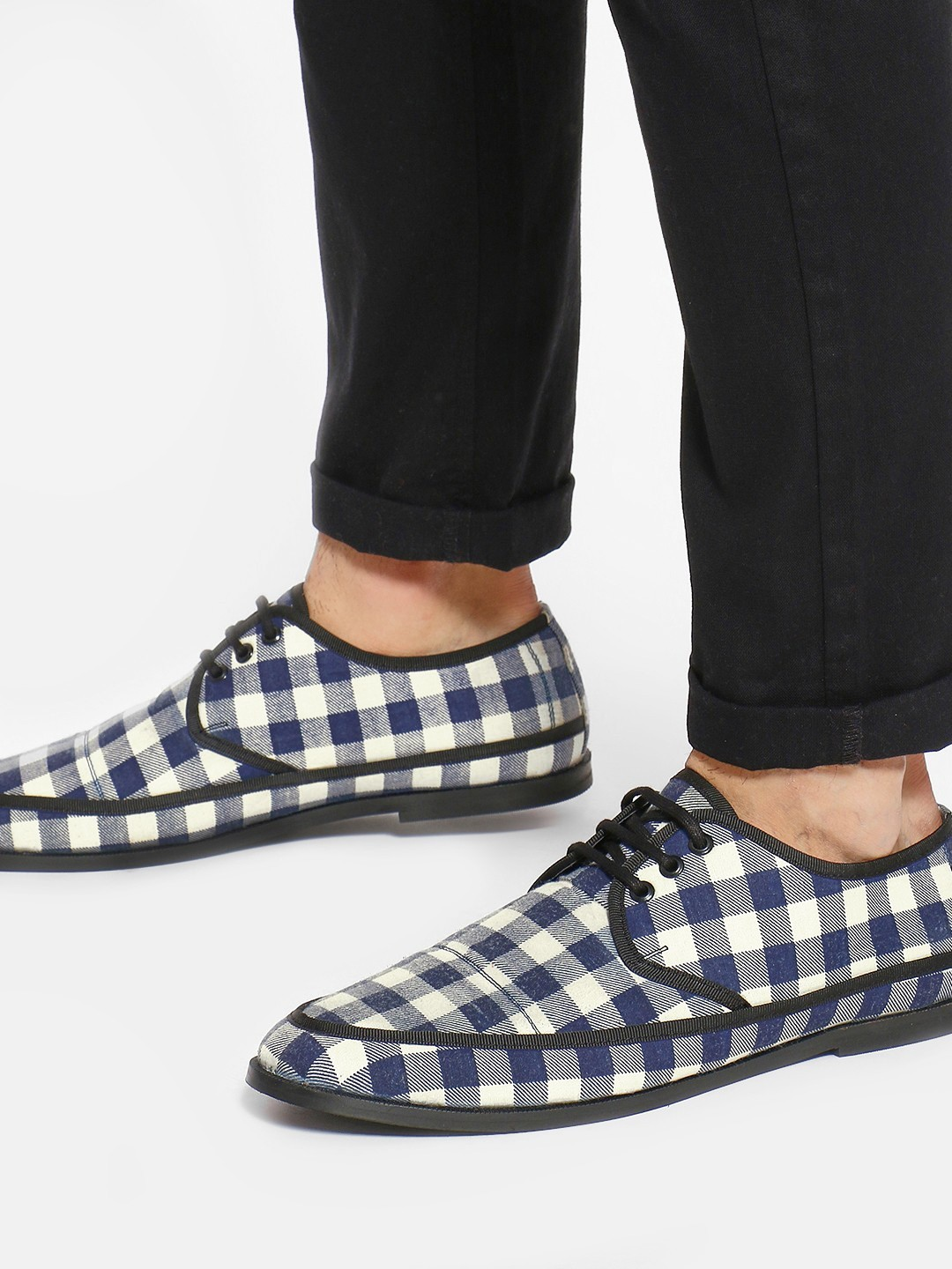 Griffin Blue Checkered Panel Formal Shoes 1