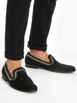 Griffin Leaf Embroidered Suede Loafers