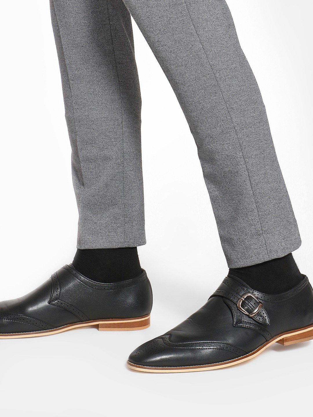 Griffin Black Brogue Punches Monk Shoes 1
