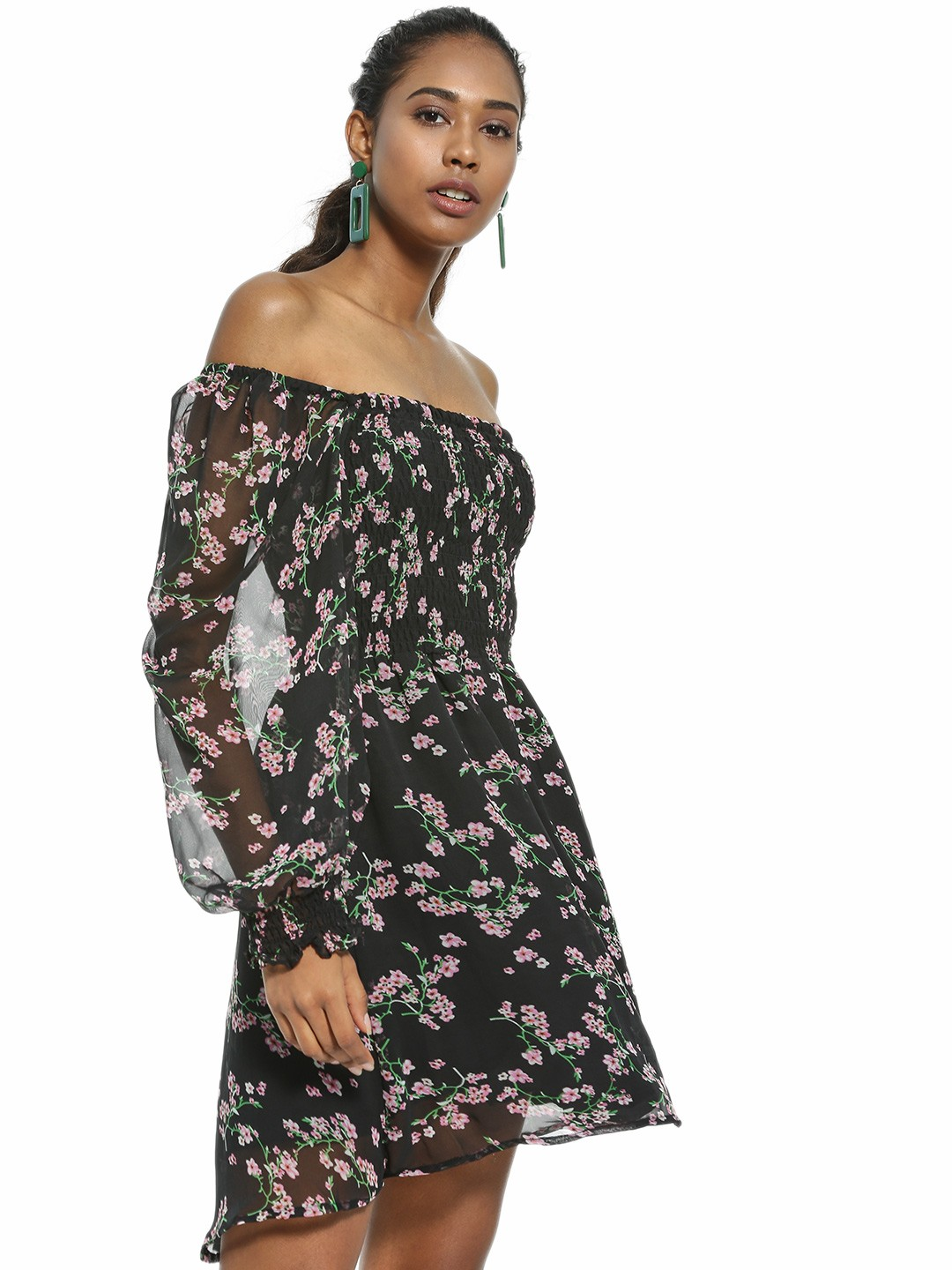 KOOVS Multi Floral Print Off-Shoulder Skater Dress 1