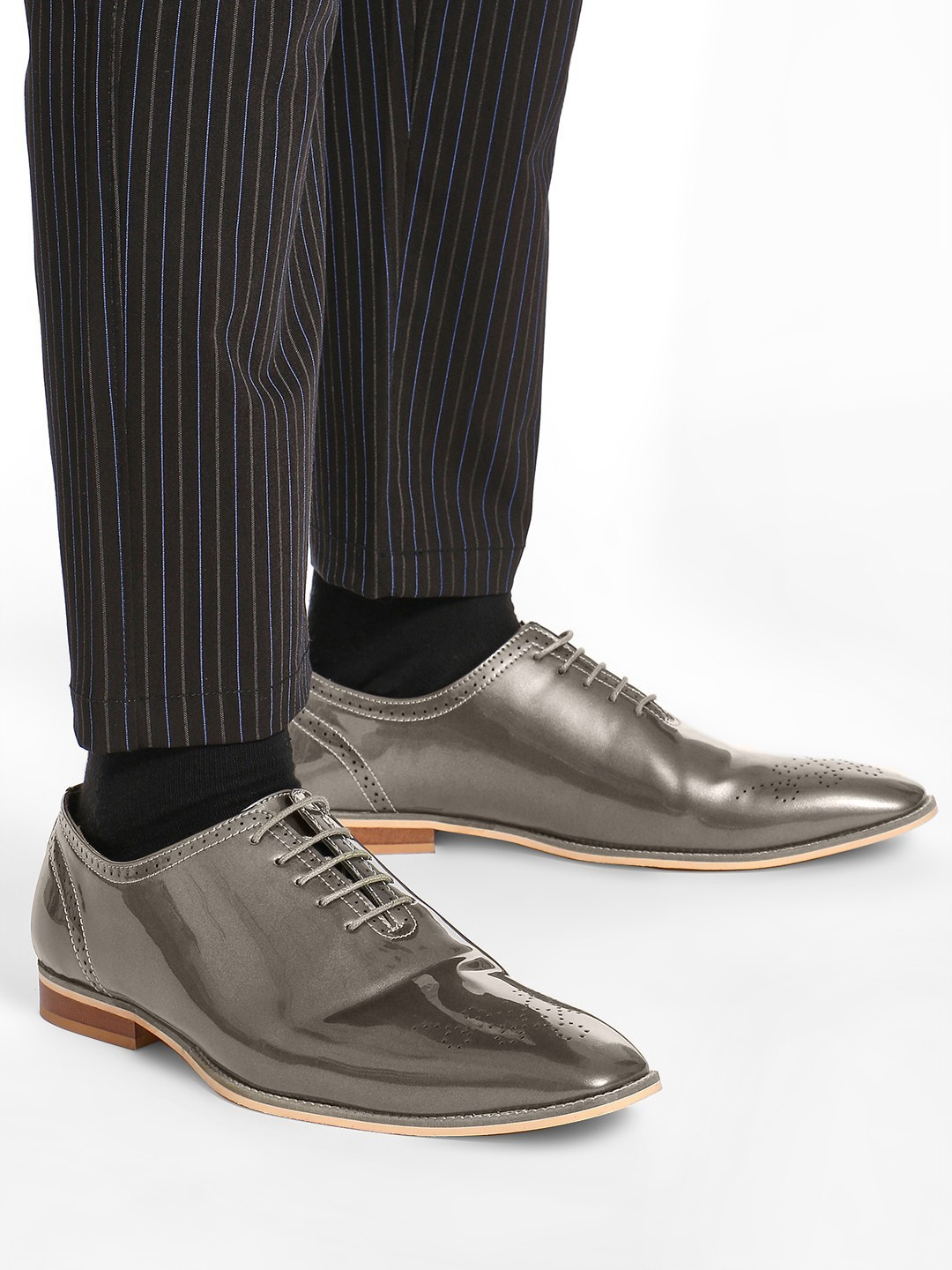 Griffin Grey Metallic Patent Brogue Shoes 1