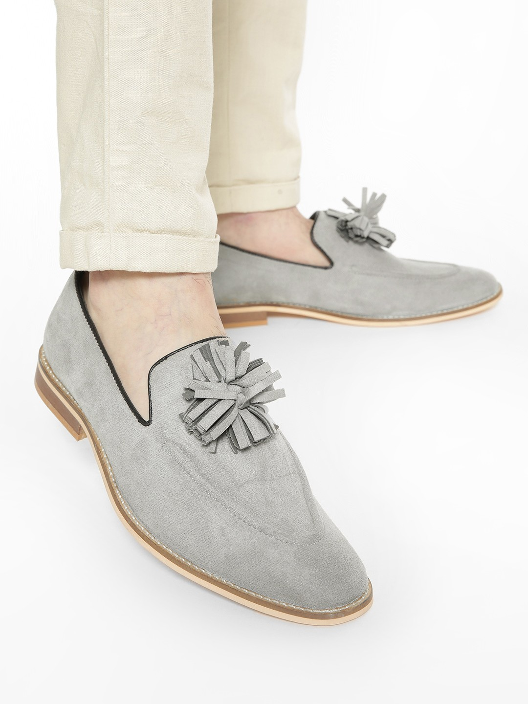 Griffin Grey Fringed Flower Suede Loafers 1