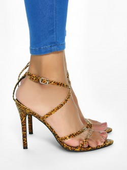 Intoto Leopard Print Tie-Up Heeled Sandals