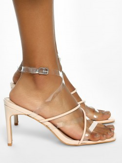 Intoto Tubular Clear Strap Heeled Sandals