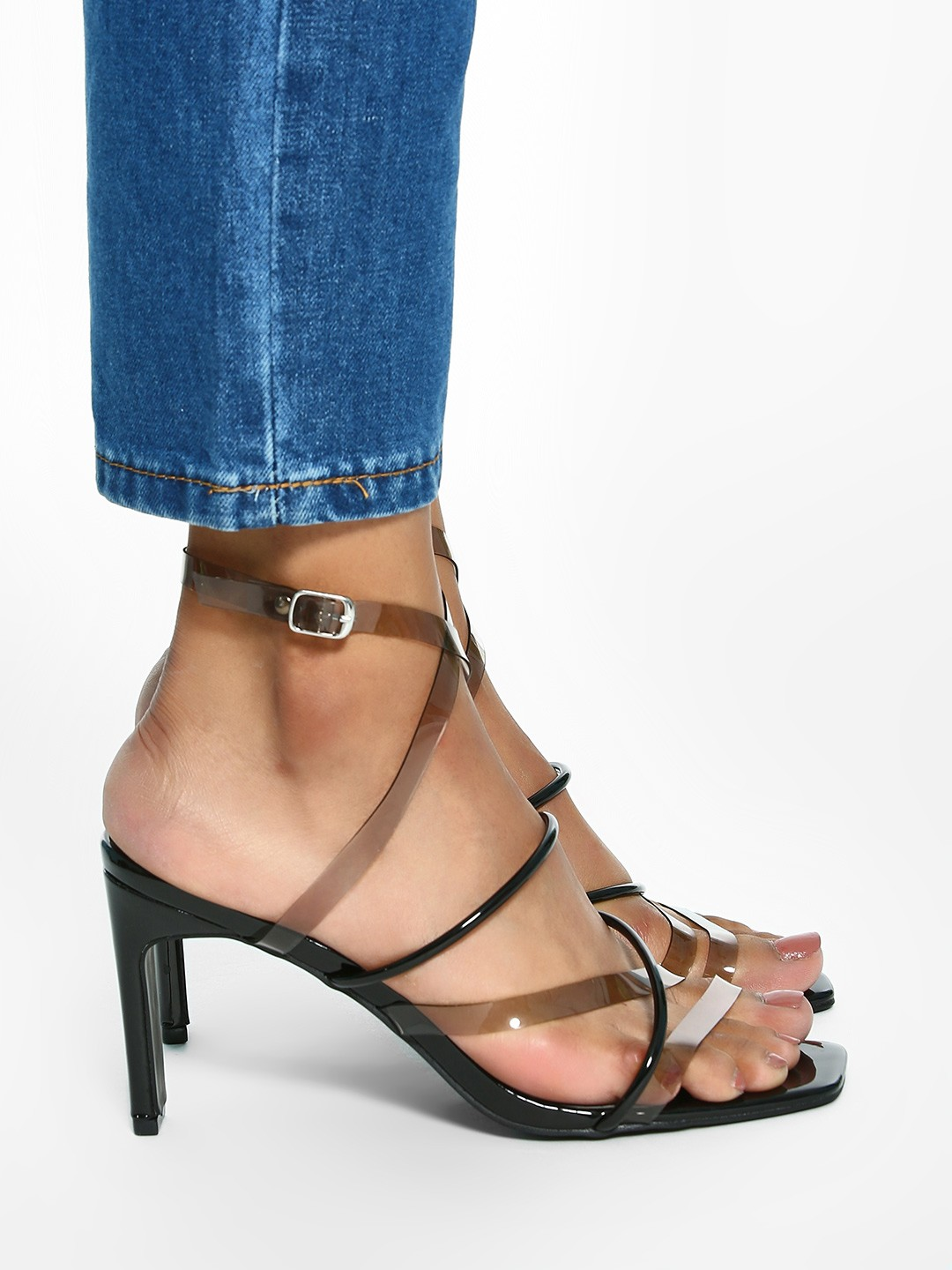 Intoto Black Tubular Clear Strap Heeled Sandals 1